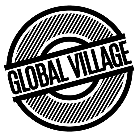 Global Village black stamp on white background . Label sticker
