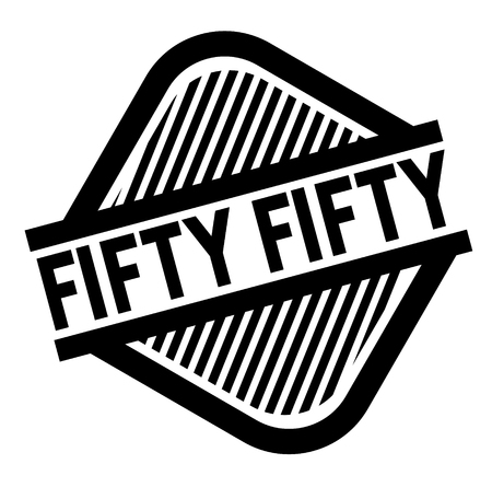 Fifty fifty black stamp on white background . Label sticker