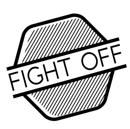 Fight off black stamp on white background . Label sticker