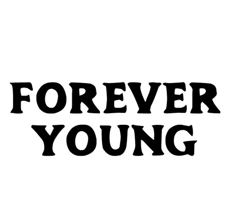 Forever young stamp on white