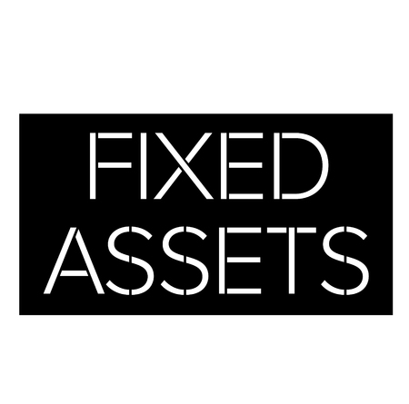 Fixed assets black stamp on white background . Label sticker Ilustração