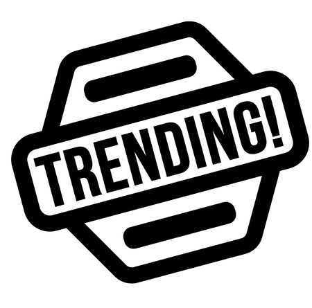 trending black stamp, sticker, label on white background