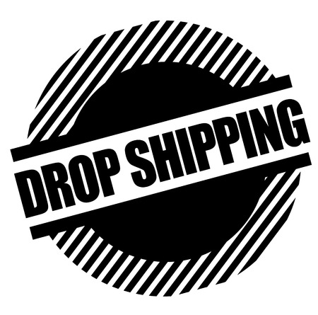 Drop shipping black stamp on white background . Label sticker