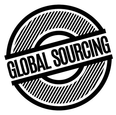 Global Sourcing black stamp on white background . Label sticker Foto de archivo - 124362285