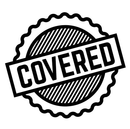 Covered black stamp on white background . Label sticker Ilustrace