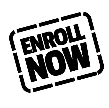 enroll now black stamp on white background . Label sticker