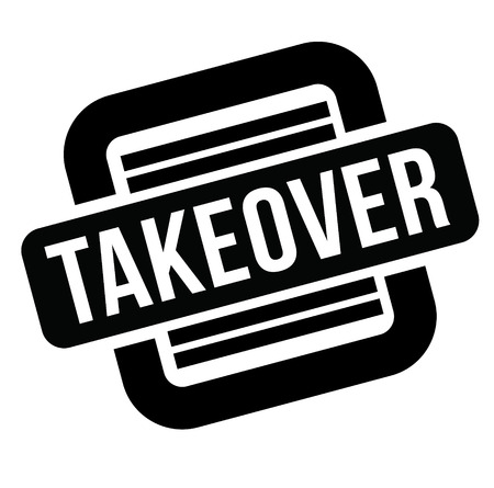 takeover black stamp, sticker, label on white background