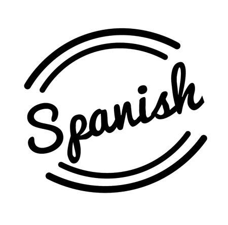 spanish black stamp, sticker, label on white background