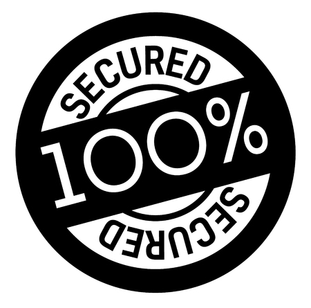 100 percent secured stamp on white background. Sign, label, sticker