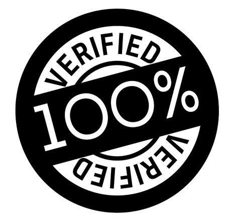 100 percent verified stamp on white background. Sign, label, sticker Ilustração