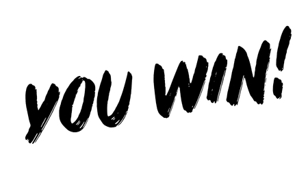 you win stamp on white background. Sign, label, sticker