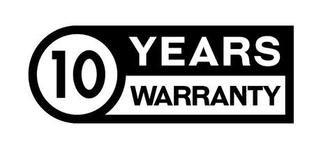 10 year warranty stamp on white