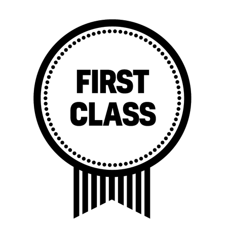 first class stamp on white background. Sign, label, sticker