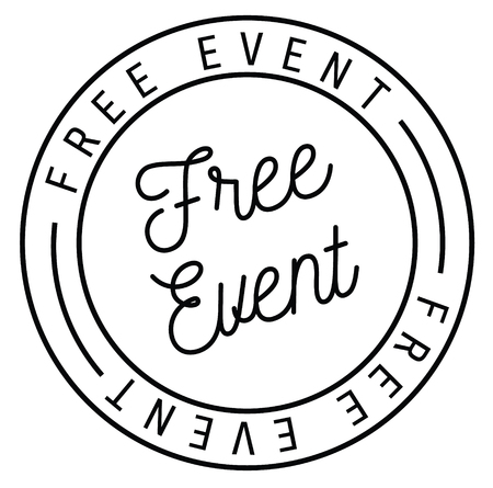 free event stamp on white background . Label sticker Ilustrace