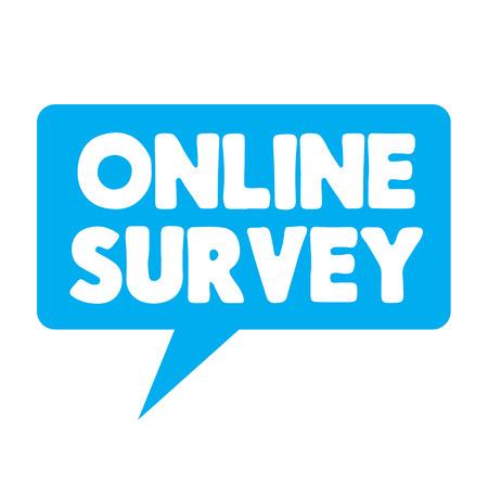 Online Survey label on white background . Label sticker Stock Illustratie