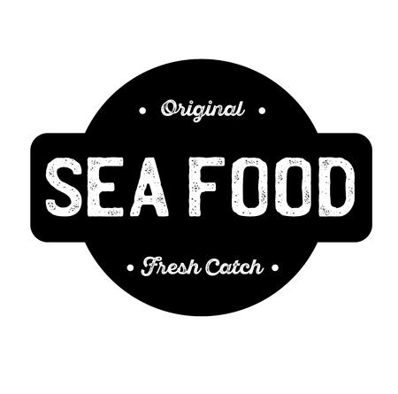 sea food label on white background . Label sticker
