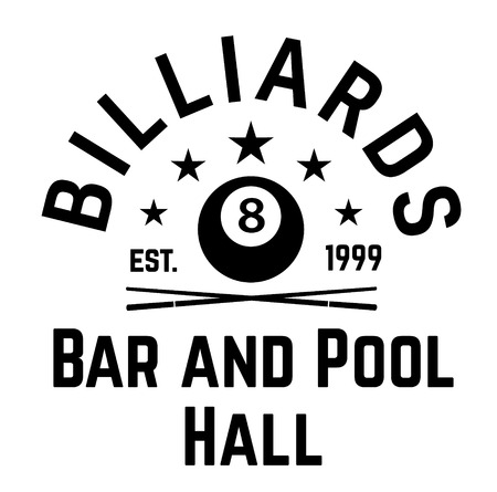 billiards label on white background . Label sticker