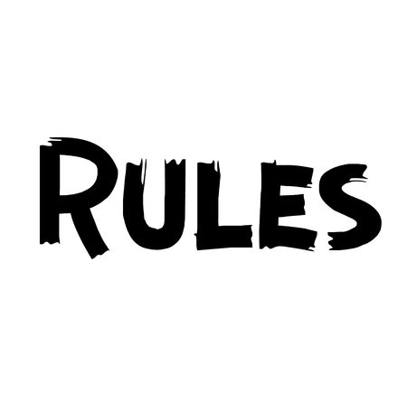 Rules label on white background . Label sticker