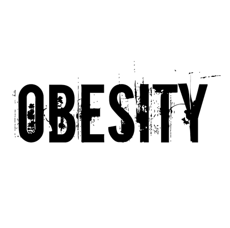 Obesity stamp on white background . Label sticker Иллюстрация