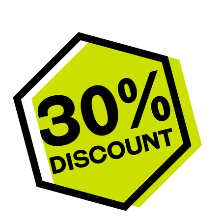 30 percent discount stamp on white background. Sign, label, sticker