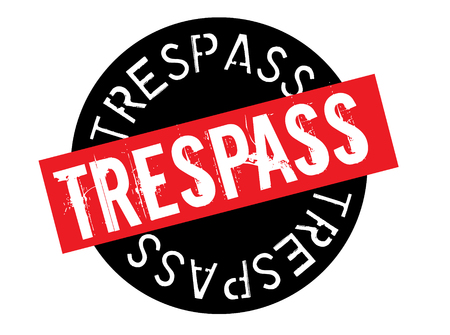 trespass stamp on white background. Sign, label sticker