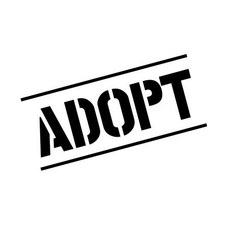 adopt black stamp, sticker, label on white background