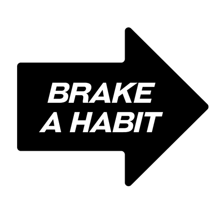 brake habit black stamp, sticker, label, on white background