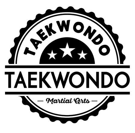 taekwondo label illustration