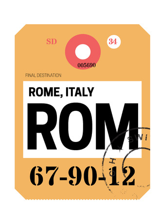 rome realistically looking airport luggage tag illustration Archivio Fotografico - 124362449