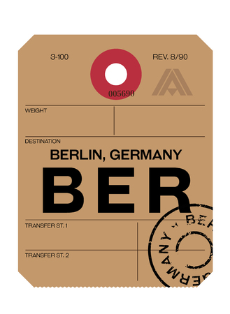 berlin realistically looking airport luggage tag illustration Vektoros illusztráció