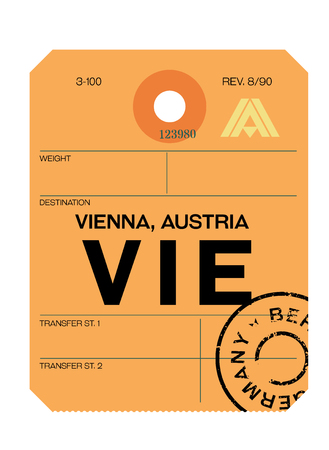 Vienna realistically looking airport luggage tag illustration Banque d'images - 124362460
