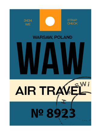Warsaw realistically looking airport luggage tag illustration