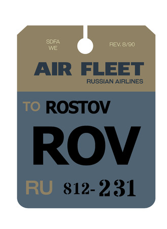 Rostov-on-Don realistically looking airport luggage tag illustration