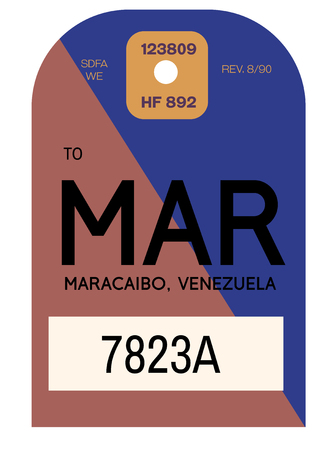 Maracaibo realistically looking airport luggage tag illustration