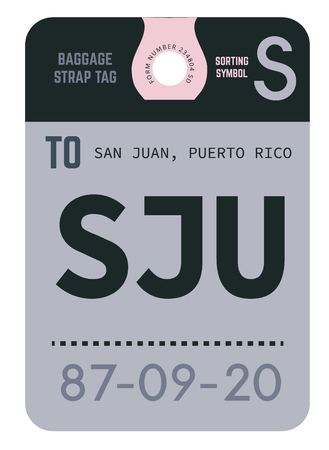 San Juan realistically looking airport luggage tag