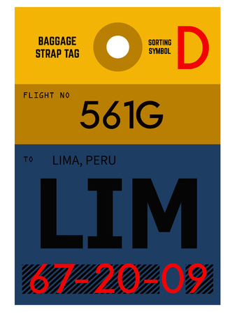 Lima realistically looking airport luggage tag illustration