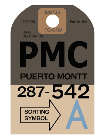 Puerto Montt realistically looking airport luggage tag