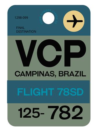 Campinas realistically looking airport luggage tag illustration Ilustración de vector
