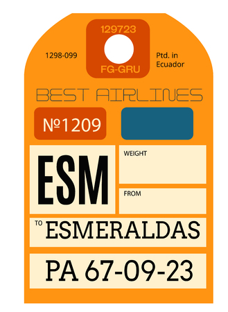 Esmeraldas realistically looking airport luggage tag illustration