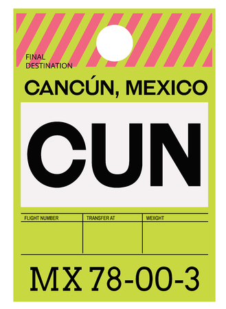 Cancun realistically looking airport luggage tag illustration Иллюстрация