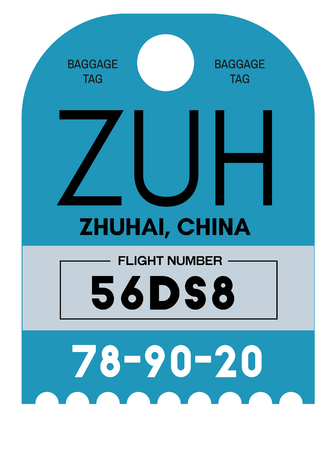 Zhuhai realistically looking airport luggage tag illustration