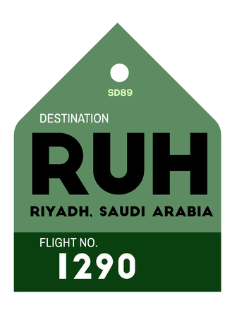 realistically looking airport luggage tag illustration flat Çizim