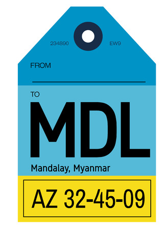 Mandalay realistically looking airport luggage tag illustration