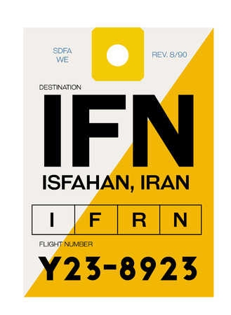 Isfahan realistically looking airport luggage tag illustration Illustration