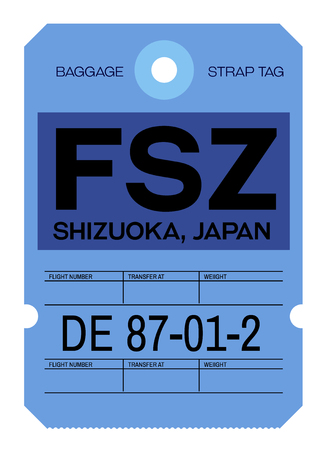 Shizuoka realistically looking airport luggage tag illustration