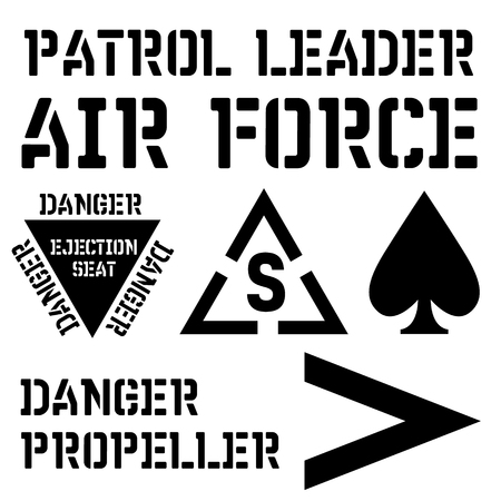 Armed forces stencil sign collection. Black on white background.