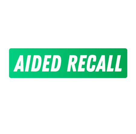 aided recall advertising sticker, label, stamp on white Çizim