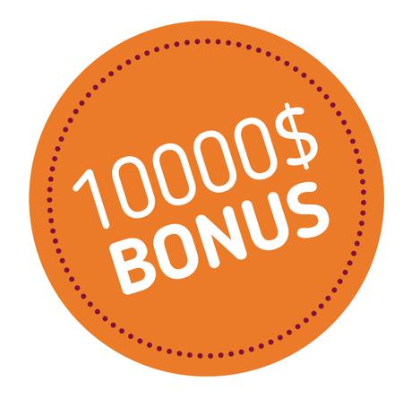 ten thousand dollars bonus advertising sticker