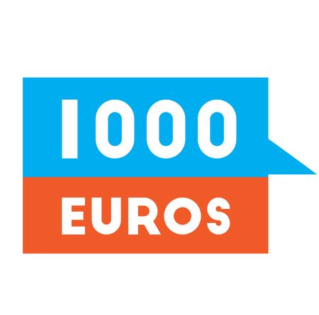 one thousand euros advertising sticker, label, stamp on white.