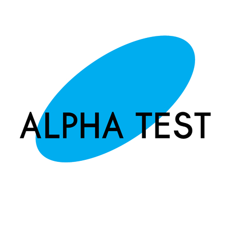 alpha test advertising sticker, label, stamp on white Ilustrace